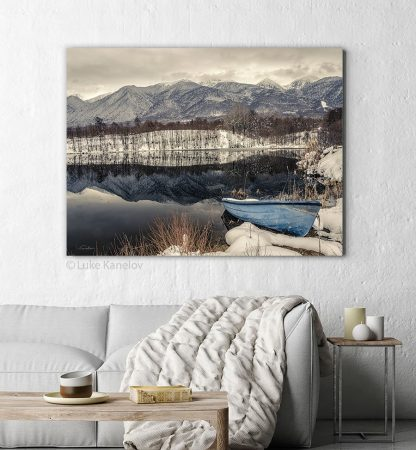 Boat on a lake photography print