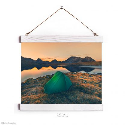 Tent on a mountain lake at sunset – Wall hanging