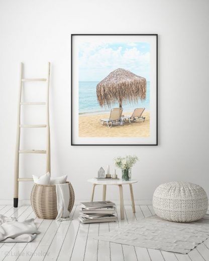 Umbrella and Chairs on a Beach, Photography, Sea Print, Sea Sunrise, Sea Landscape photo, Colorful Scenery, Large Wall Art, Coastal Decor